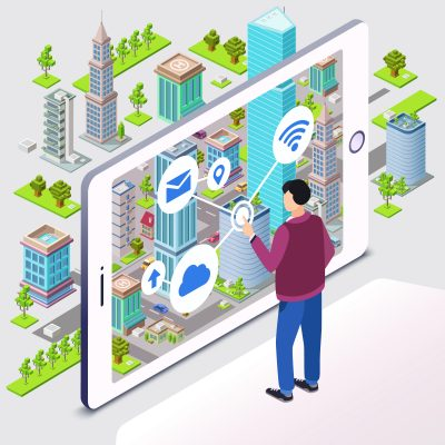 Internet of Things-Smart city vector illustration of smartphone app wireless technology