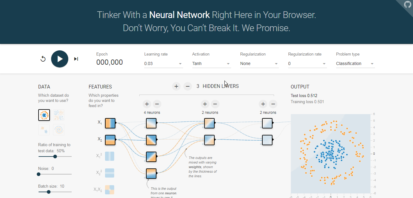 Understanding Neural Networks through in browser app.